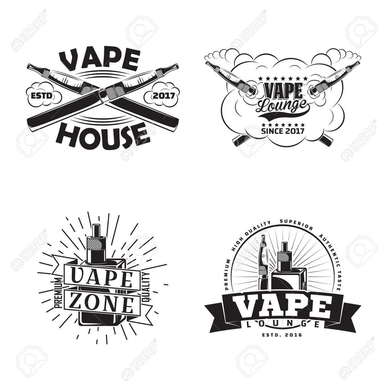 Set of vintage vape lounge emblems designs - 156729136