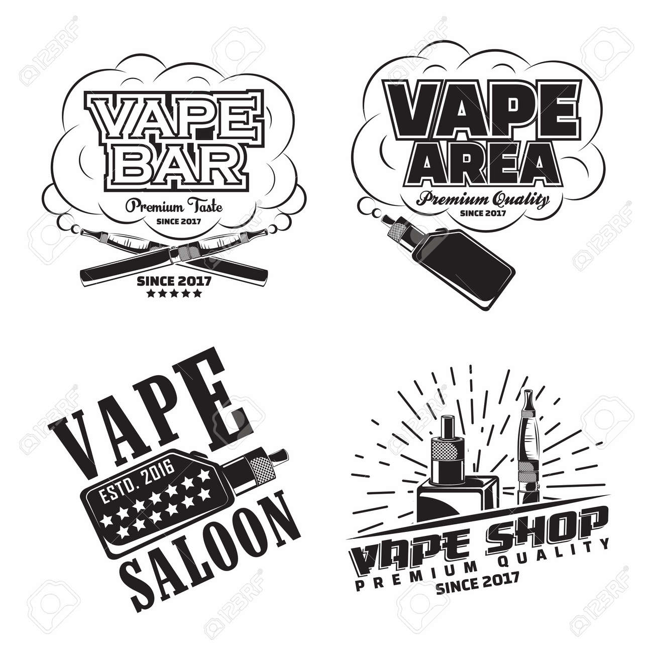 Set of vintage vape lounge emblems designs - 156729137