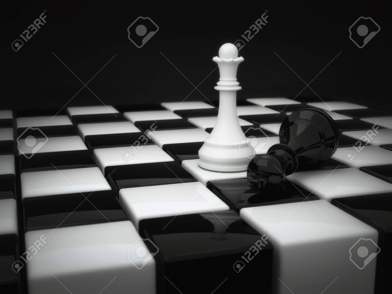 Chess pieces white queen and defeated the black king stock photo 33652115
