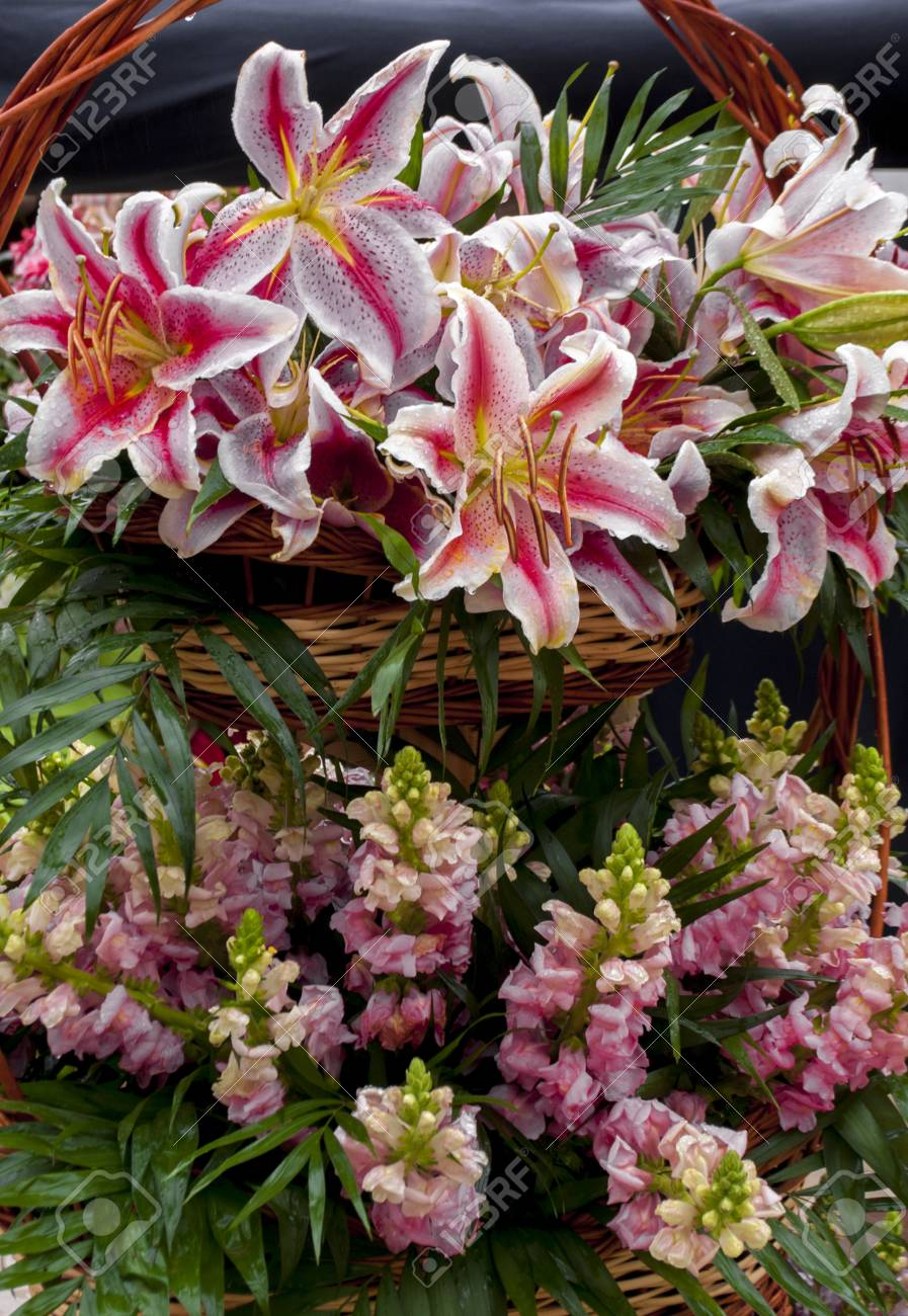 A Variety Of Bright Colorful And Festive Bouquets Of Flowers Stock