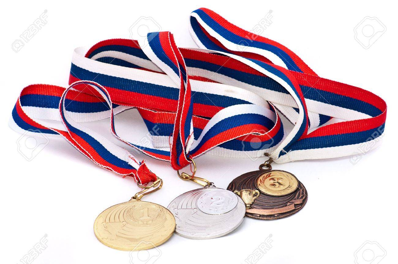 Sports Medal of the Russian Federation. Isolated on white background - 9550394