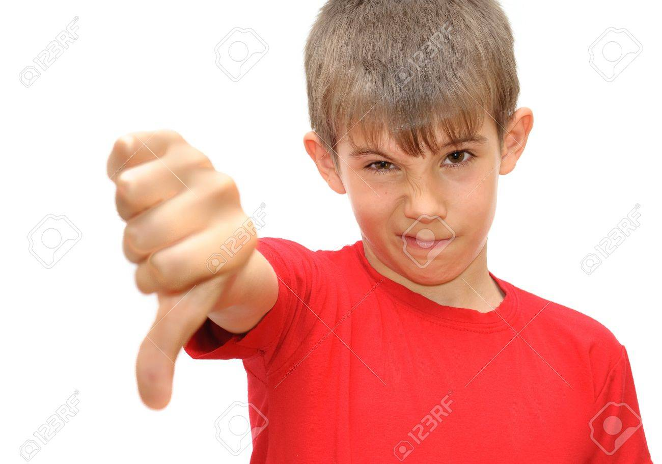 The boy shows emotion gestures. Isolated on white background - 9758399