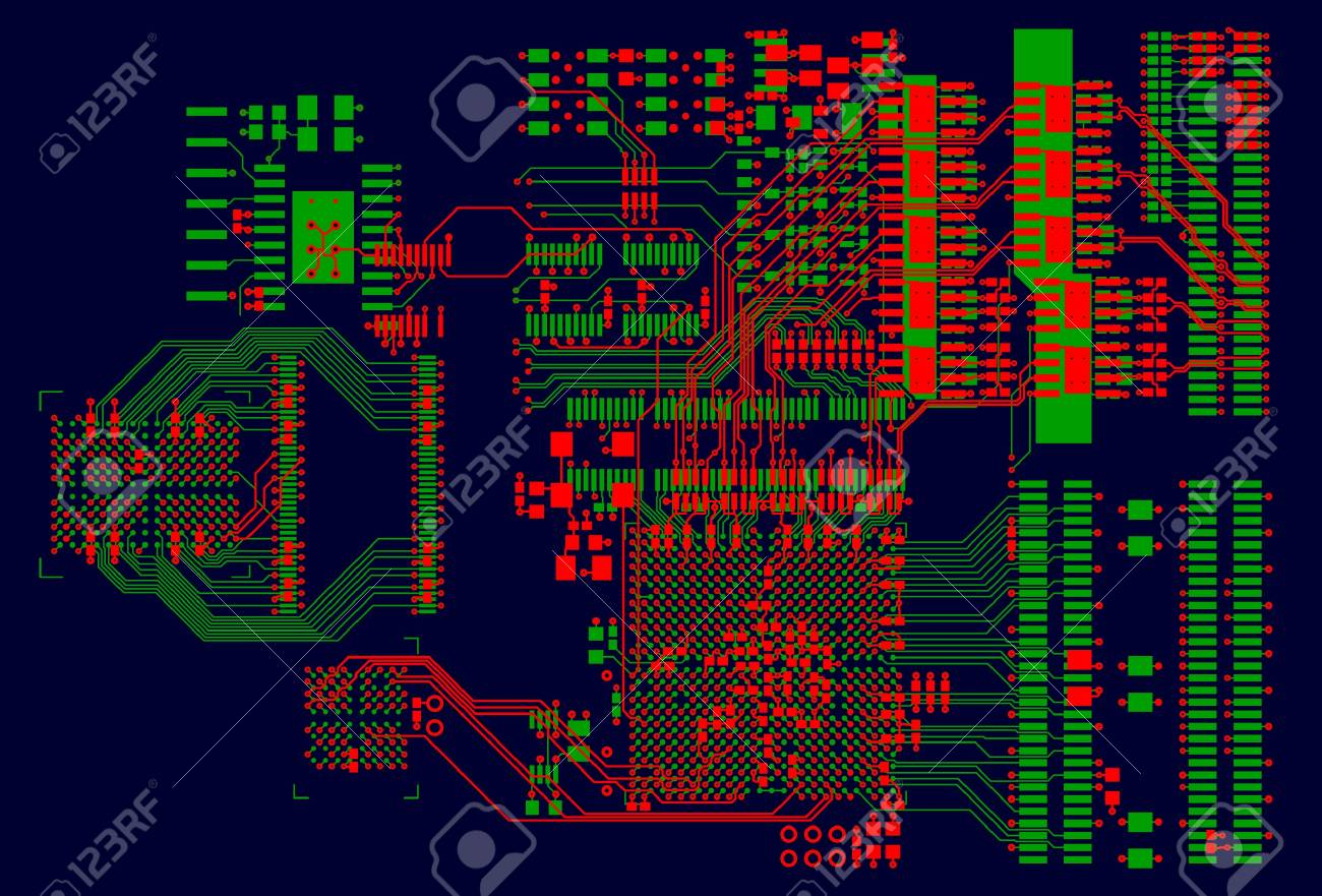The printed circuit board. Without electronic components Stock Vector - 10957910
