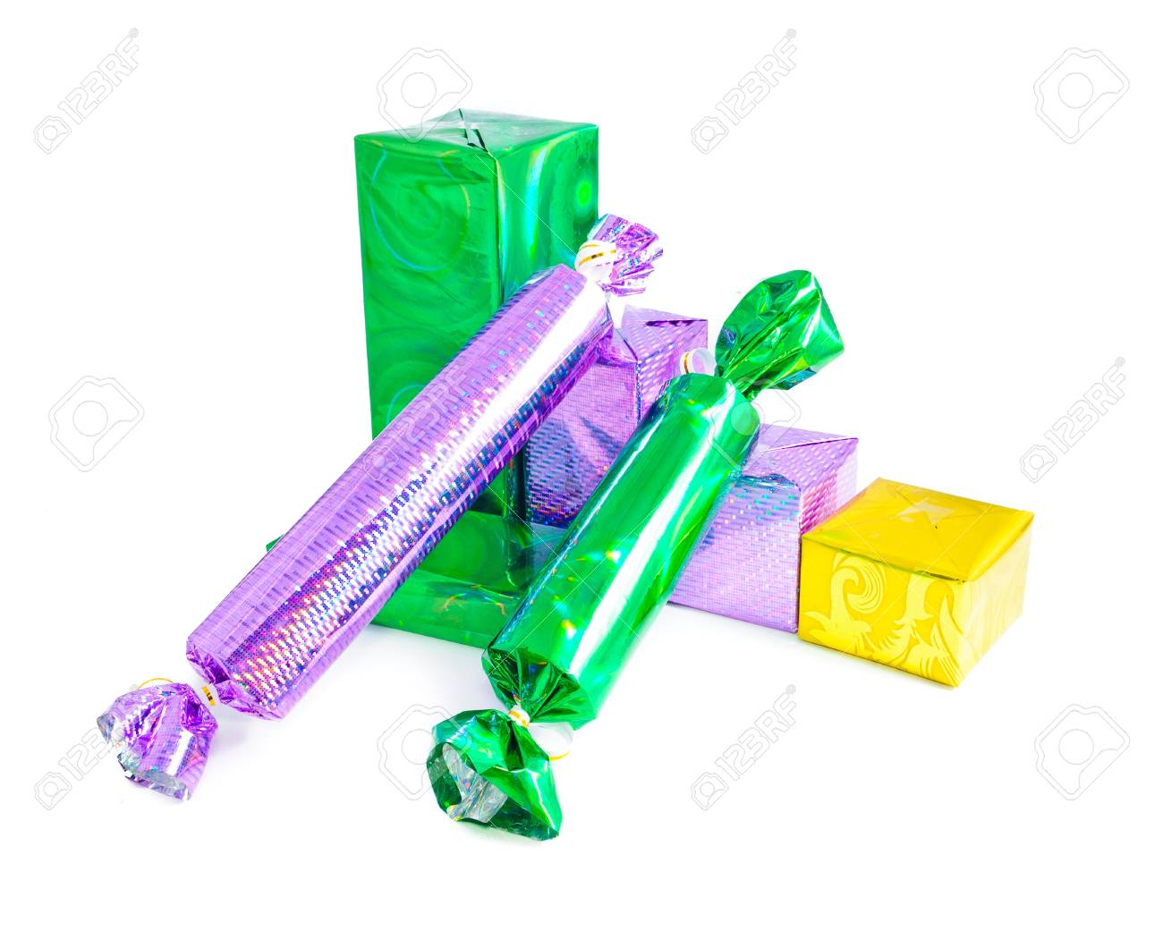Christmas Gifts For The Whole Family. Multi-colored Boxes That ...