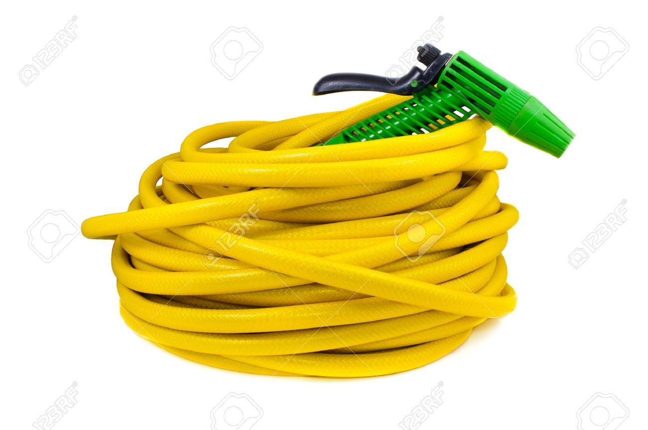 Equipment for watering garden. Hose and spray gun isolated on white background - 11889042