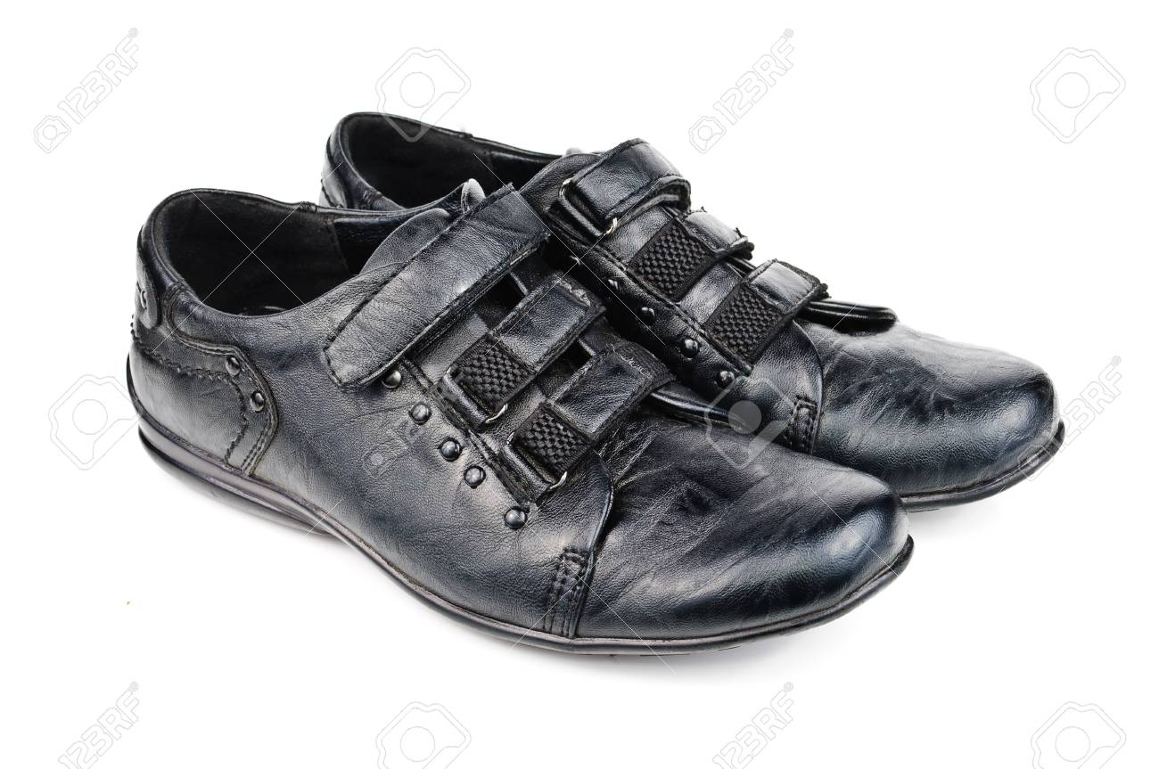 Shoes for children. Black shoes on a white background Stock Photo - 13247517