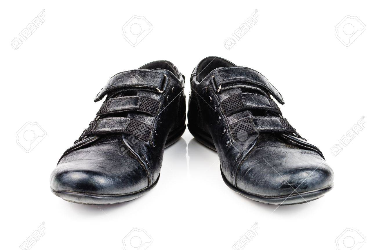 Shoes for children. Black shoes on a white background Stock Photo - 13247509