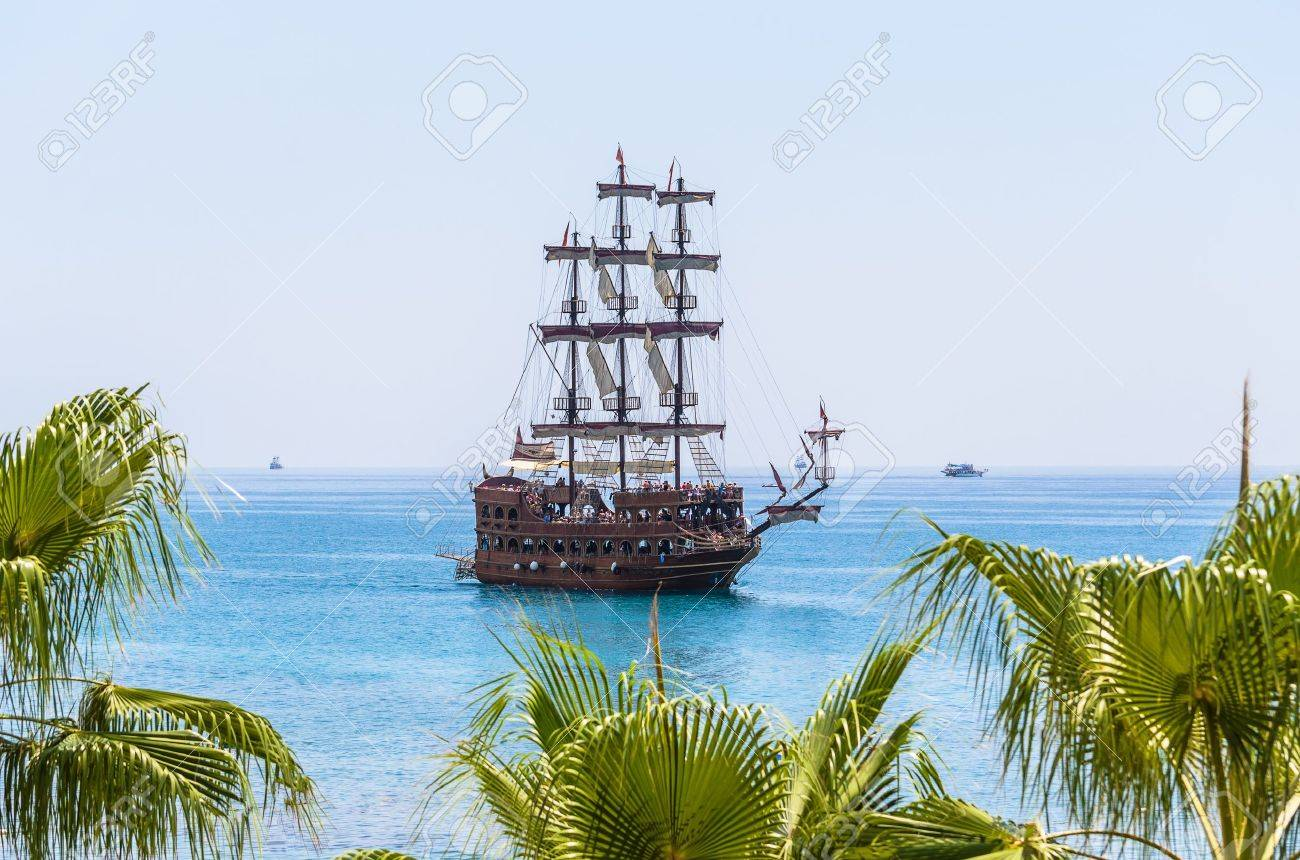 Double-deck yacht. Sailing yacht in the blue sea. - 14894056