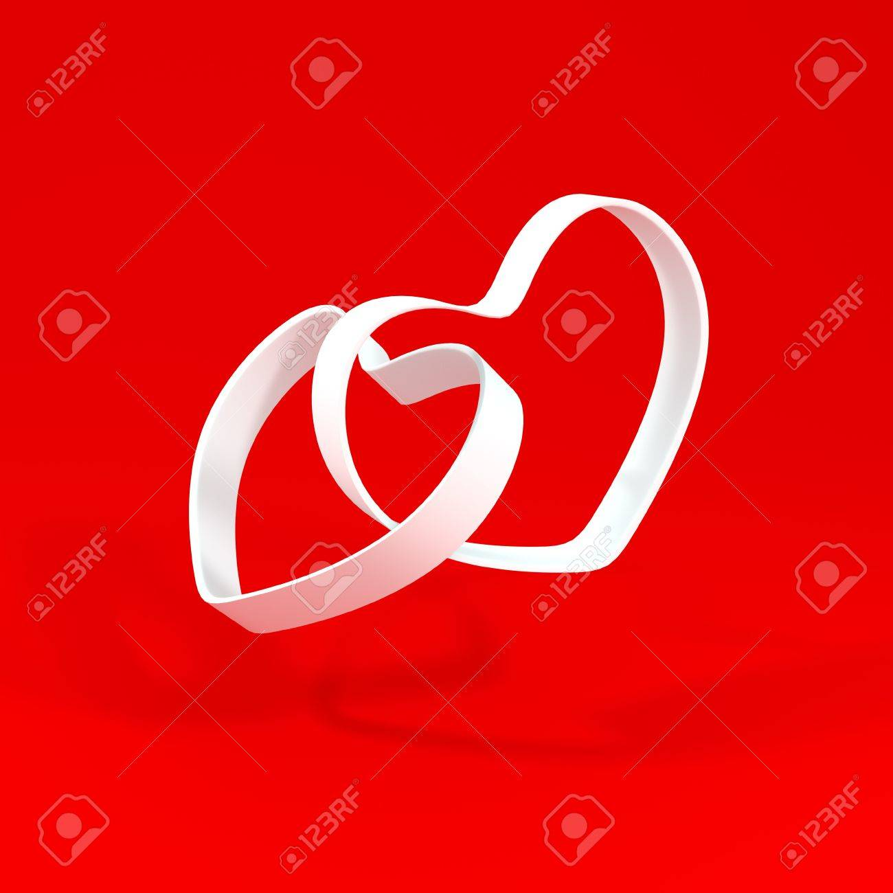 Two hearts on a red background. Stock 3D image Stock Photo - 15870562