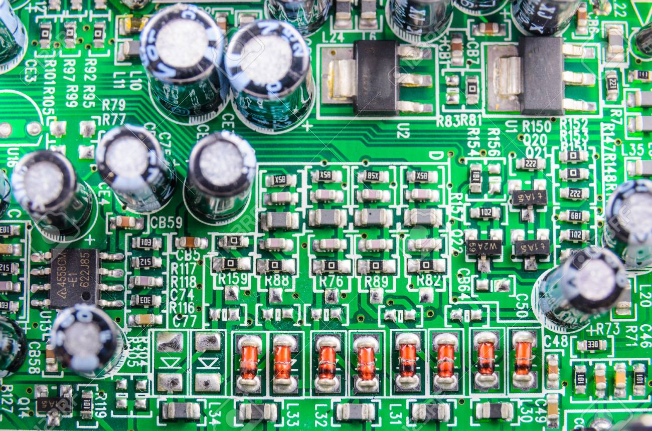 Radio Components On A Printed Circuit Board Photo Close Up Stock Pcb The Printedcircuitboard 3d Royalty Free Photography 18879468