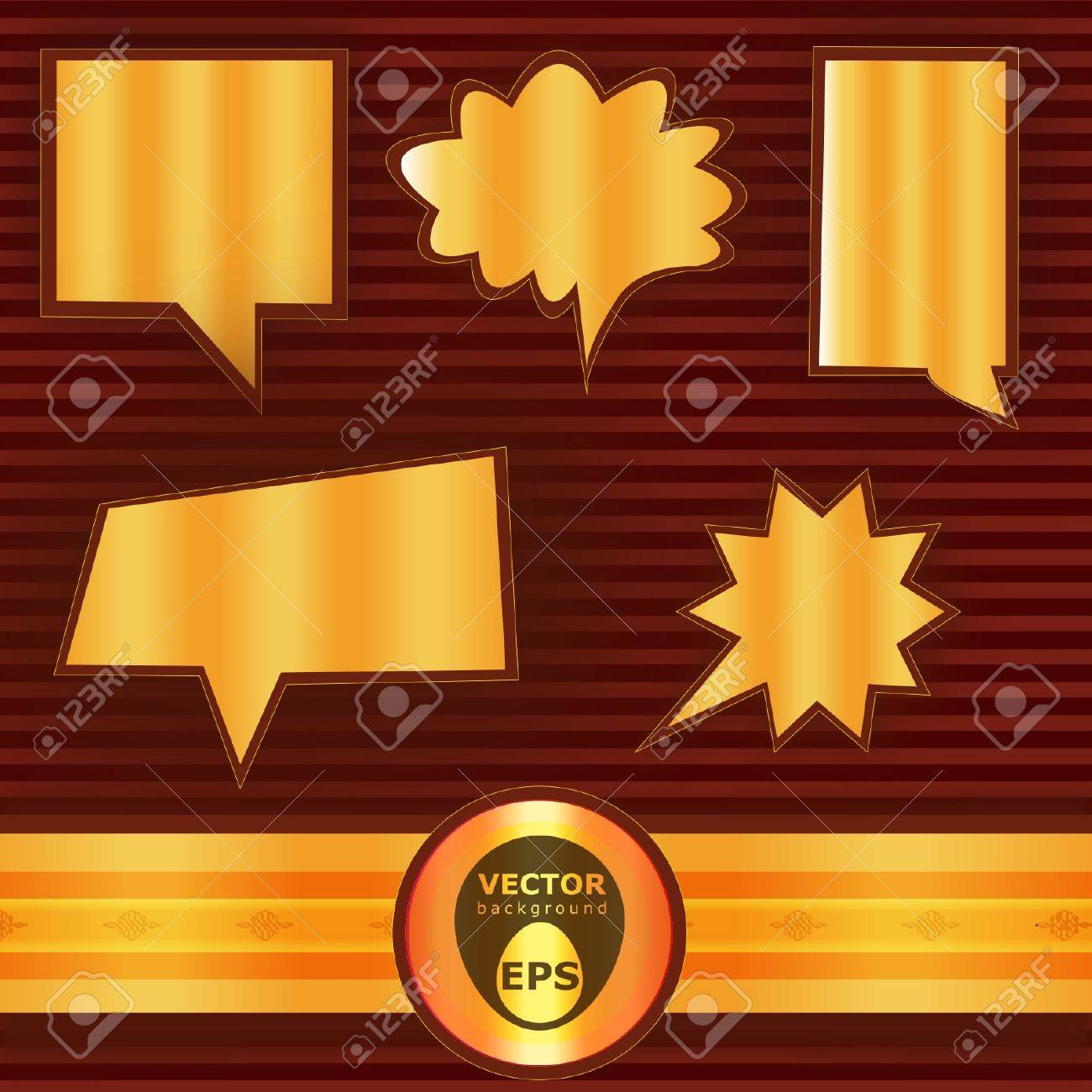 Golden fill vector bubble speech plus gold badge over red stripes background Stock Vector - 18386015