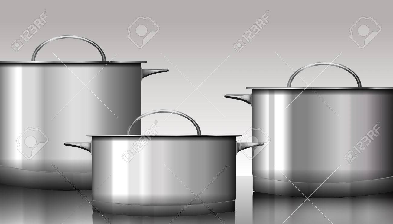 Group Of Stainless Steel Kitchenware Isolated On White. Vector ...