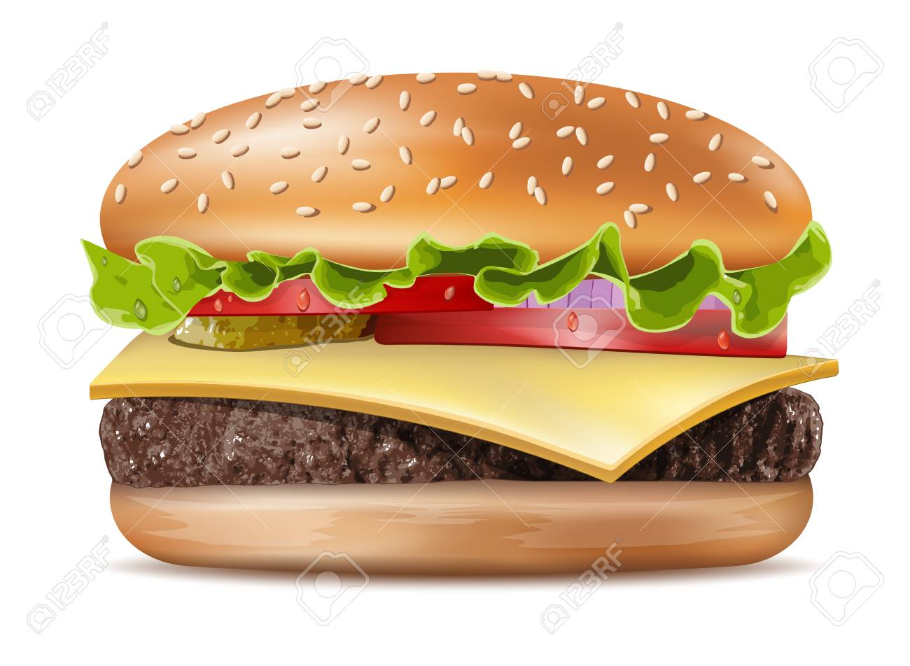 Vector Realistic Hamburger Classic Burger American Cheeseburger with Lettuce Tomato Onion Cheese Beef and Sauce Close up isolated on white Background. Fast Food - 91544095