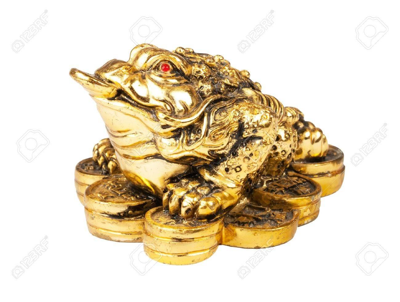Feng Shui Argent chinois feng shui litoria avec des pièces de monnaie, symbole de l