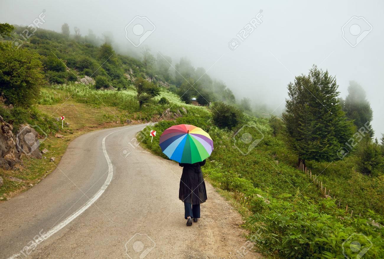 banque dimages femme solitaire avec parapluie color marchant sur une route sinueuse entre les forts brumeuses lautomne - Parapluie Color