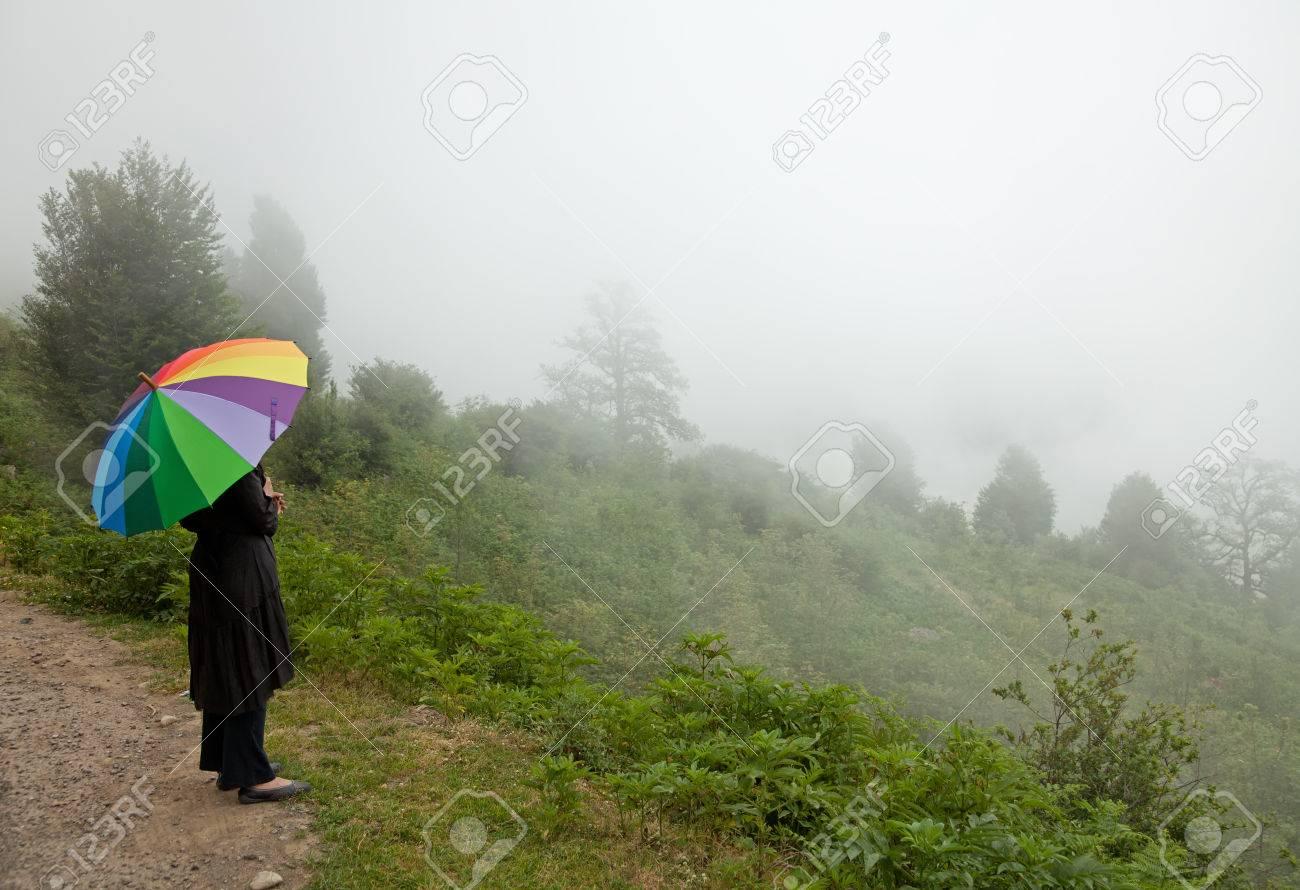 banque dimages femme solitaire avec parapluie color regarder la fort brumeuse - Parapluie Color