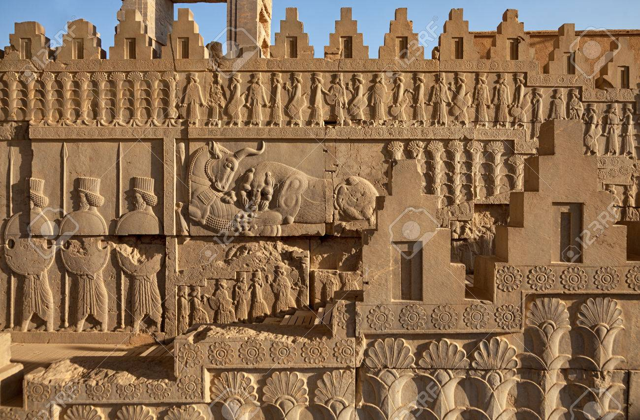 Achaemenid bas relief carvings on side panels of staircase toward