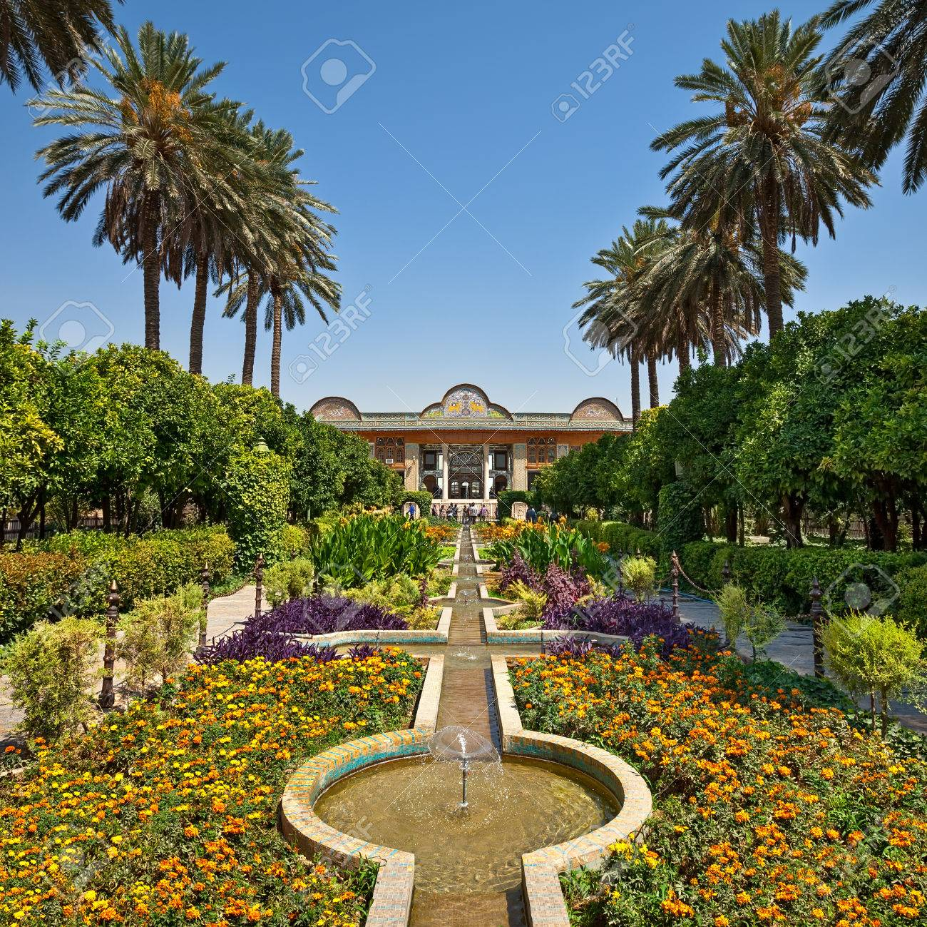Beautiful Persian Garden Of Narenjestan Ghavam Or Qavam With Its Historic  Pavilion And Engineered System Of
