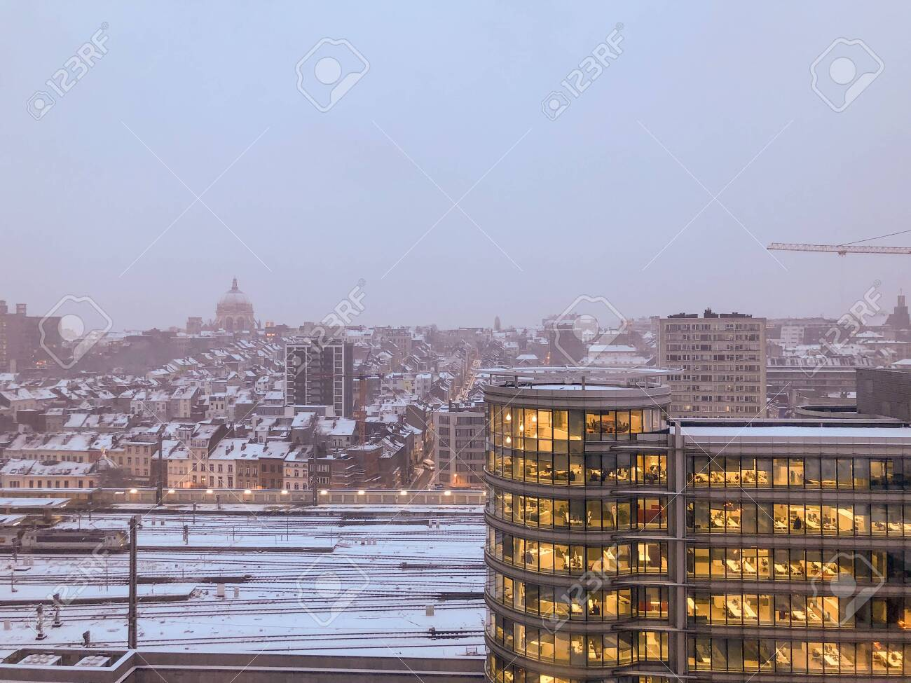 Brussels City scene on a snowy winters day. Shot on iPhone 8 Plus.