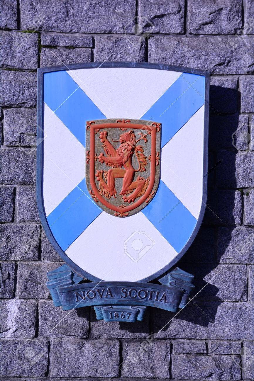 coat of arms for canadian province of nova scotia stock photo