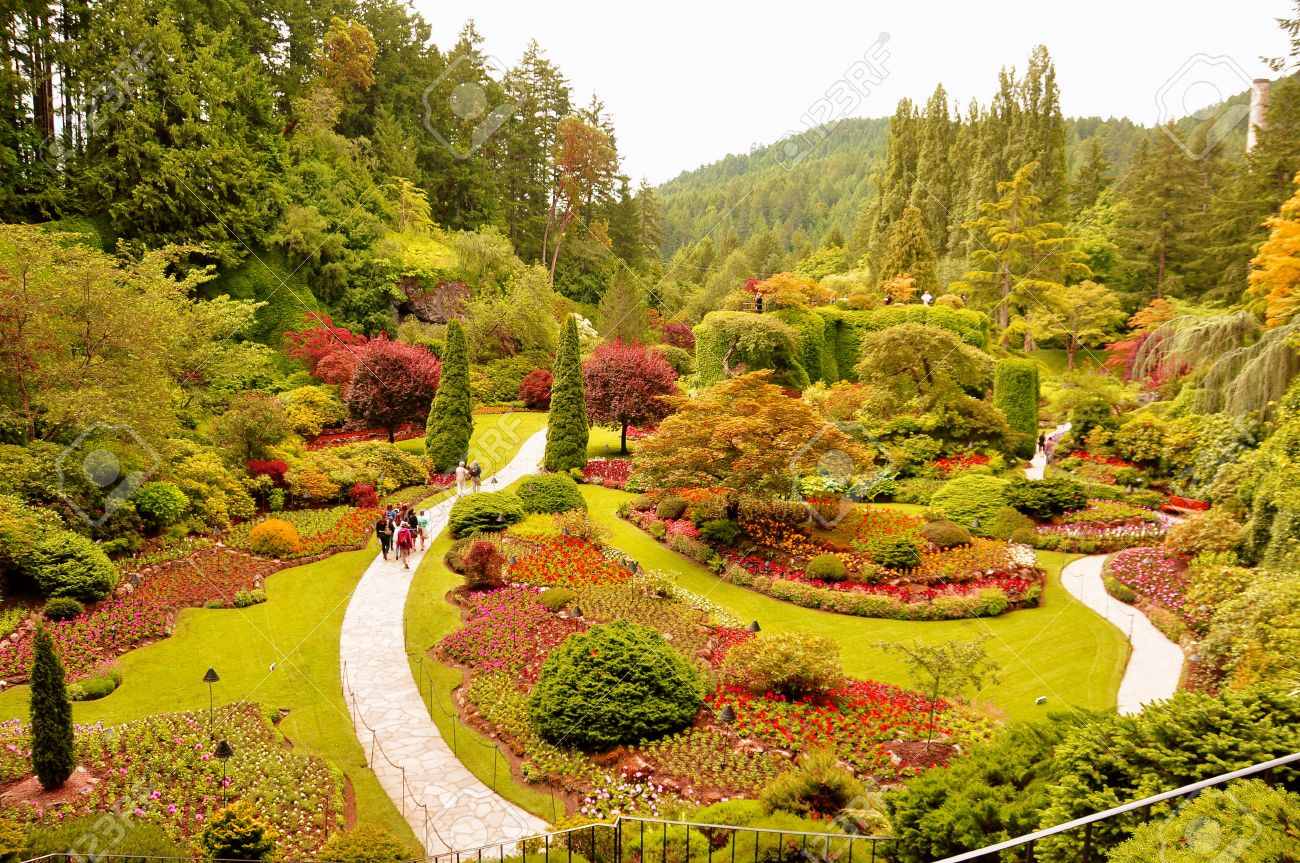 The sunken gardens at the butchart gardens victoria bc canada the sunken gardens at the butchart gardens victoria bc canada stock photo thecheapjerseys Choice Image
