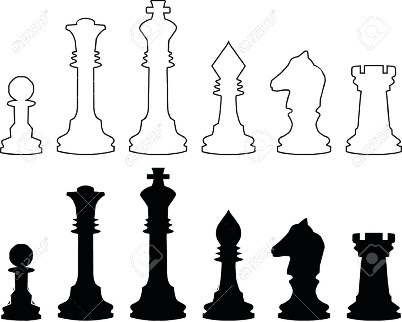 Chessmen, black and white contours. A vector illustration. It is isolated on a white background. Stock Vector - 742251