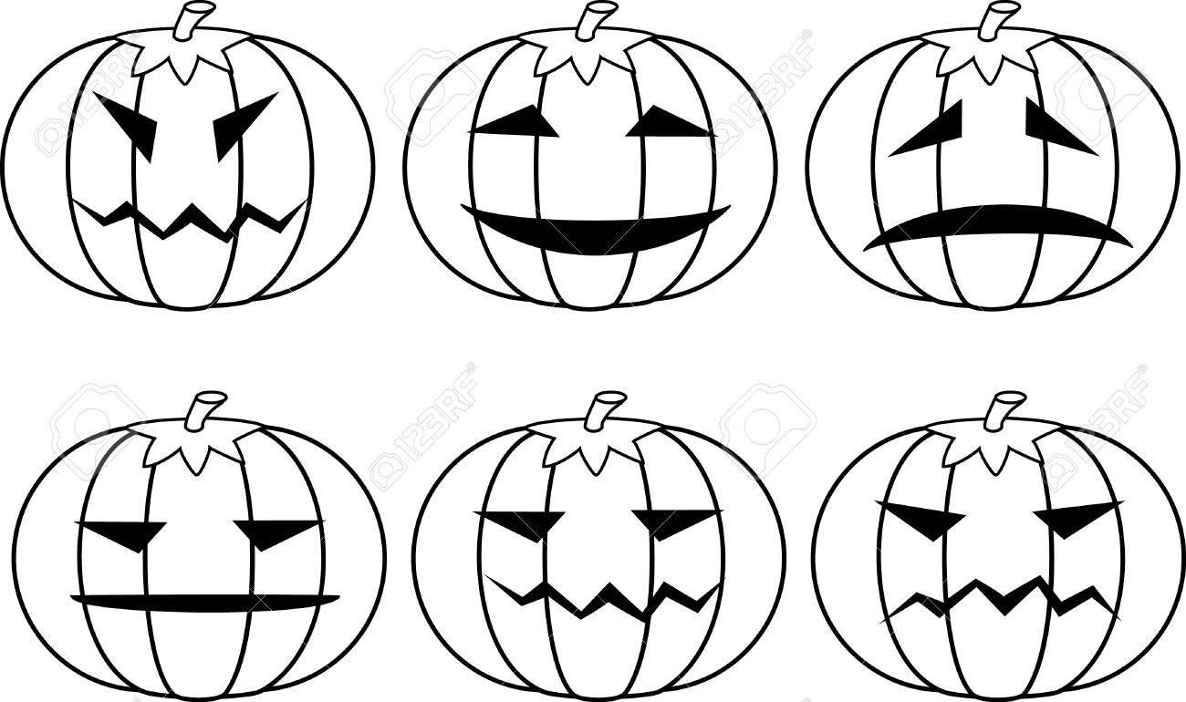 Halloween pumpkins. Set. A vector illustration. Stock Vector - 1667756