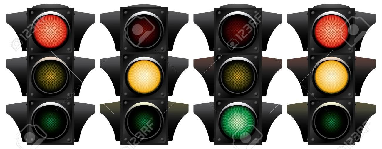 Traffic-light. Variants. Vector illustration. Isolated on white background. Stock Vector - 3109032