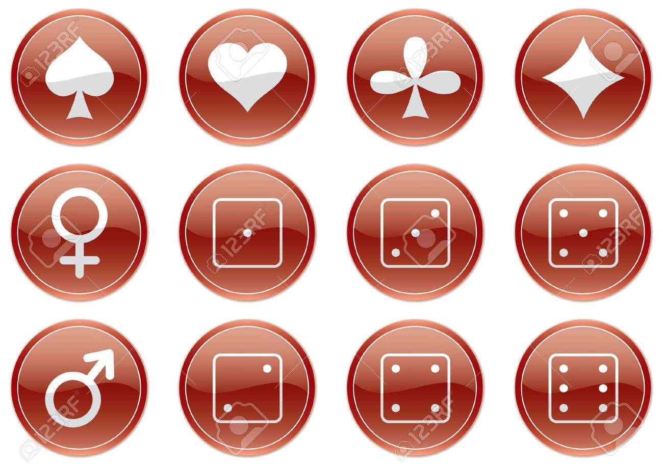 Games icons set. Dark red-and-white palette. Vector illustration. Stock Vector - 3439914
