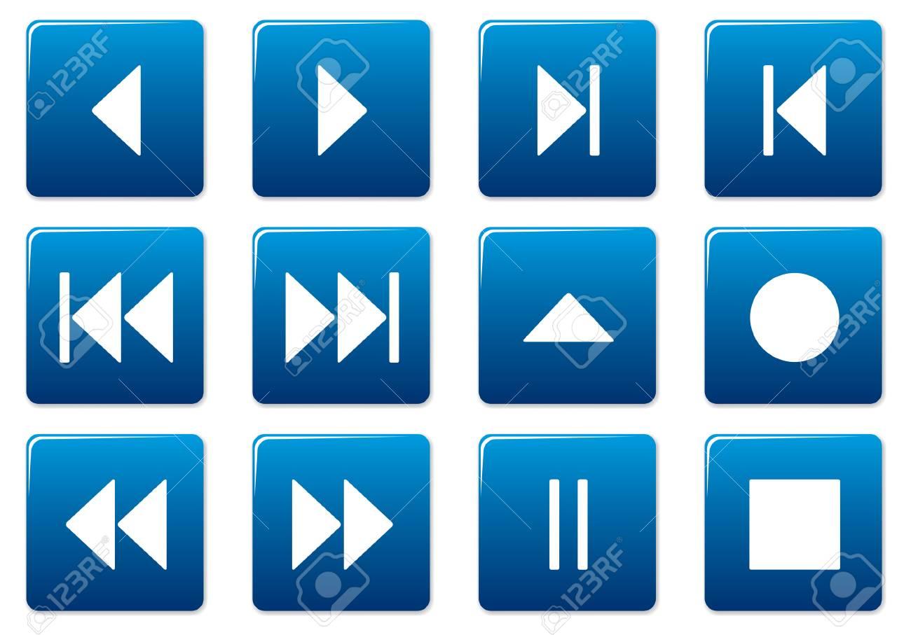 Media square icons set. Blue - white palette. Vector illustration. Stock Vector - 3497322