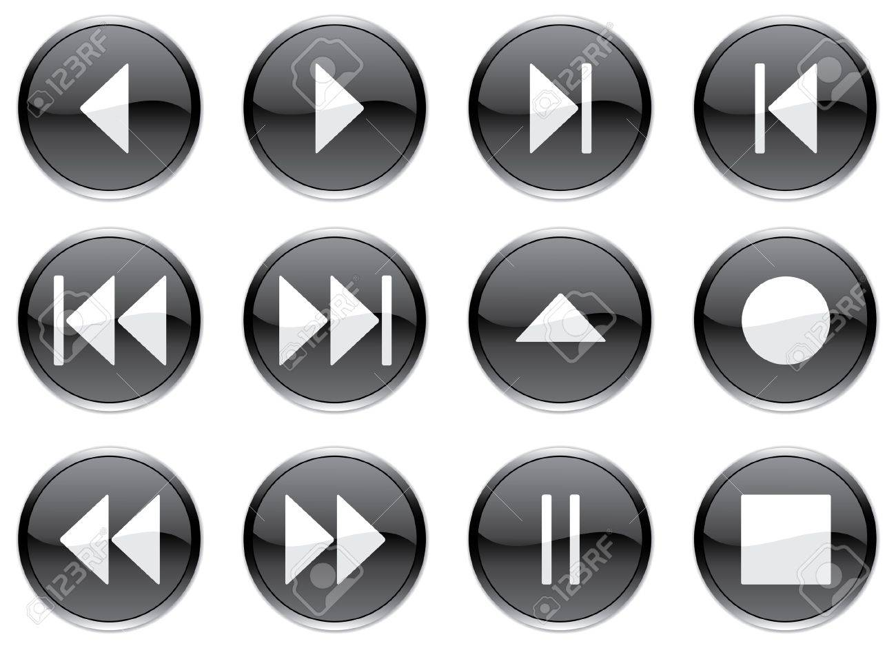 Multimedia navigation buttons set. White - black palette. Vector illustration. Stock Vector - 3722279