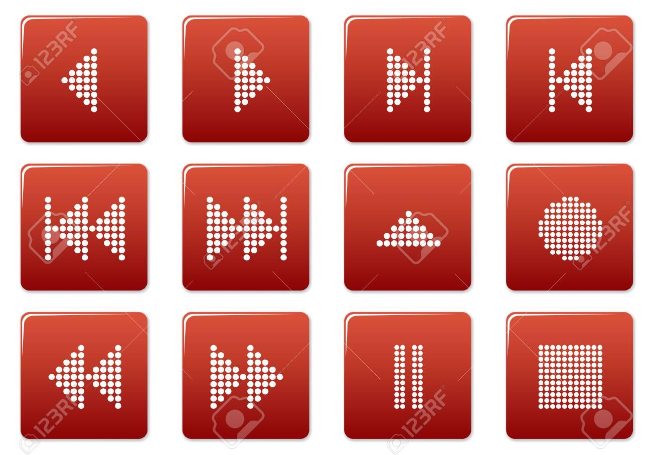 Multimedia navigation buttons set. Red - white palette. Vector illustration. Stock Vector - 3757310