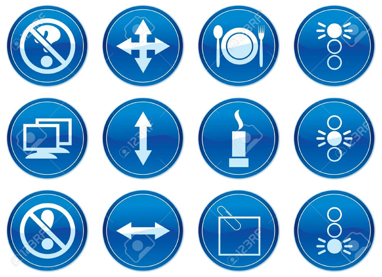 Icônes Gadget Fixés Blanc Palette De Couleur Bleu Foncé Vector