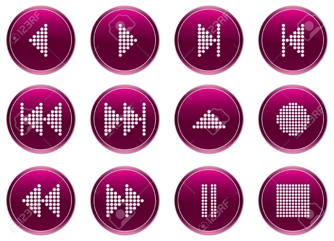Multimedia navigation buttons set. White - purple palette. Vector illustration. Stock Vector - 3858319