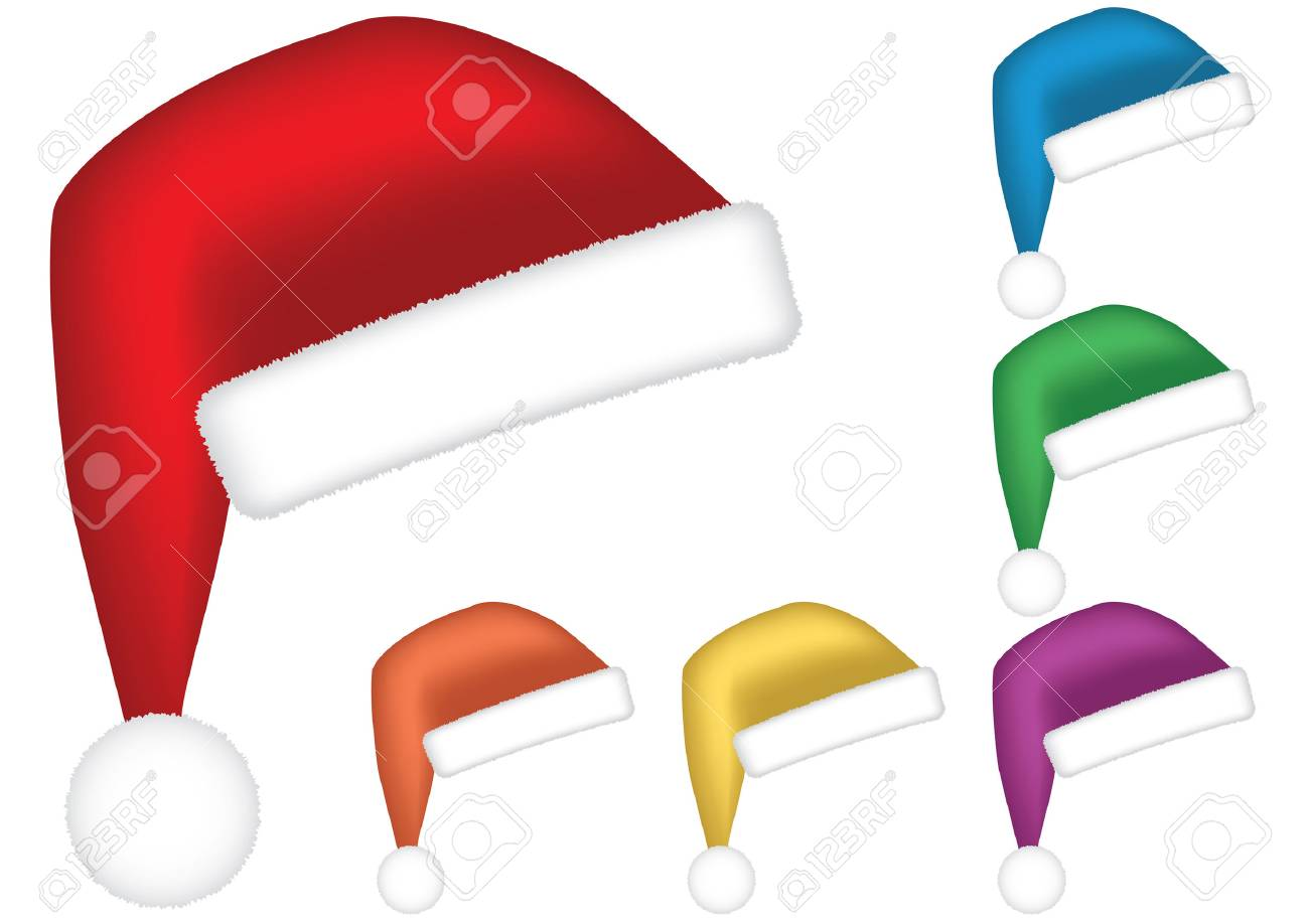 Santa caps. Multicolor collection isolated on white background. Vector illustration. Stock Vector - 3858353