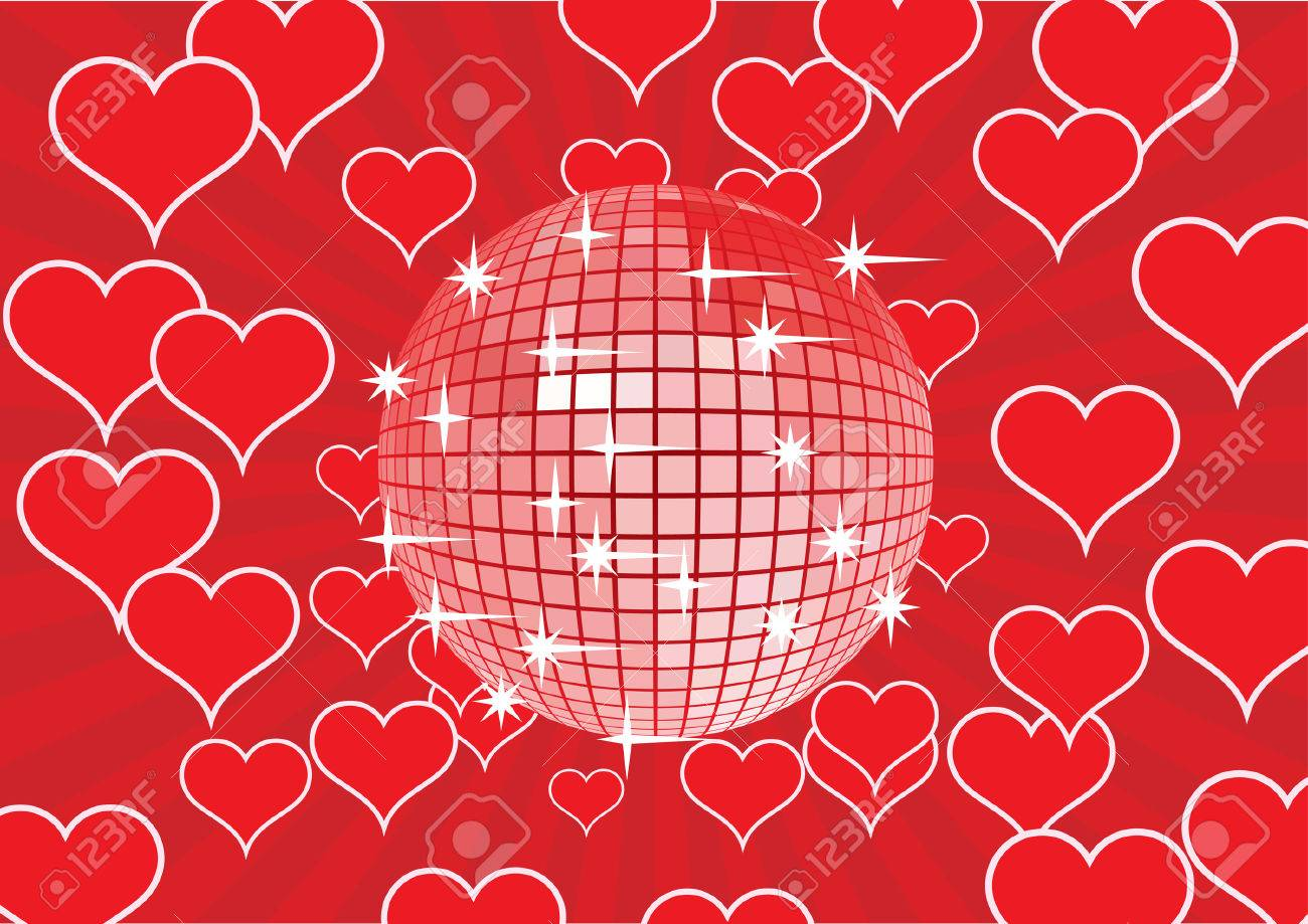 Disco mirror ball on a red rays abstract background. Vector illustration. Stock Vector - 4174970