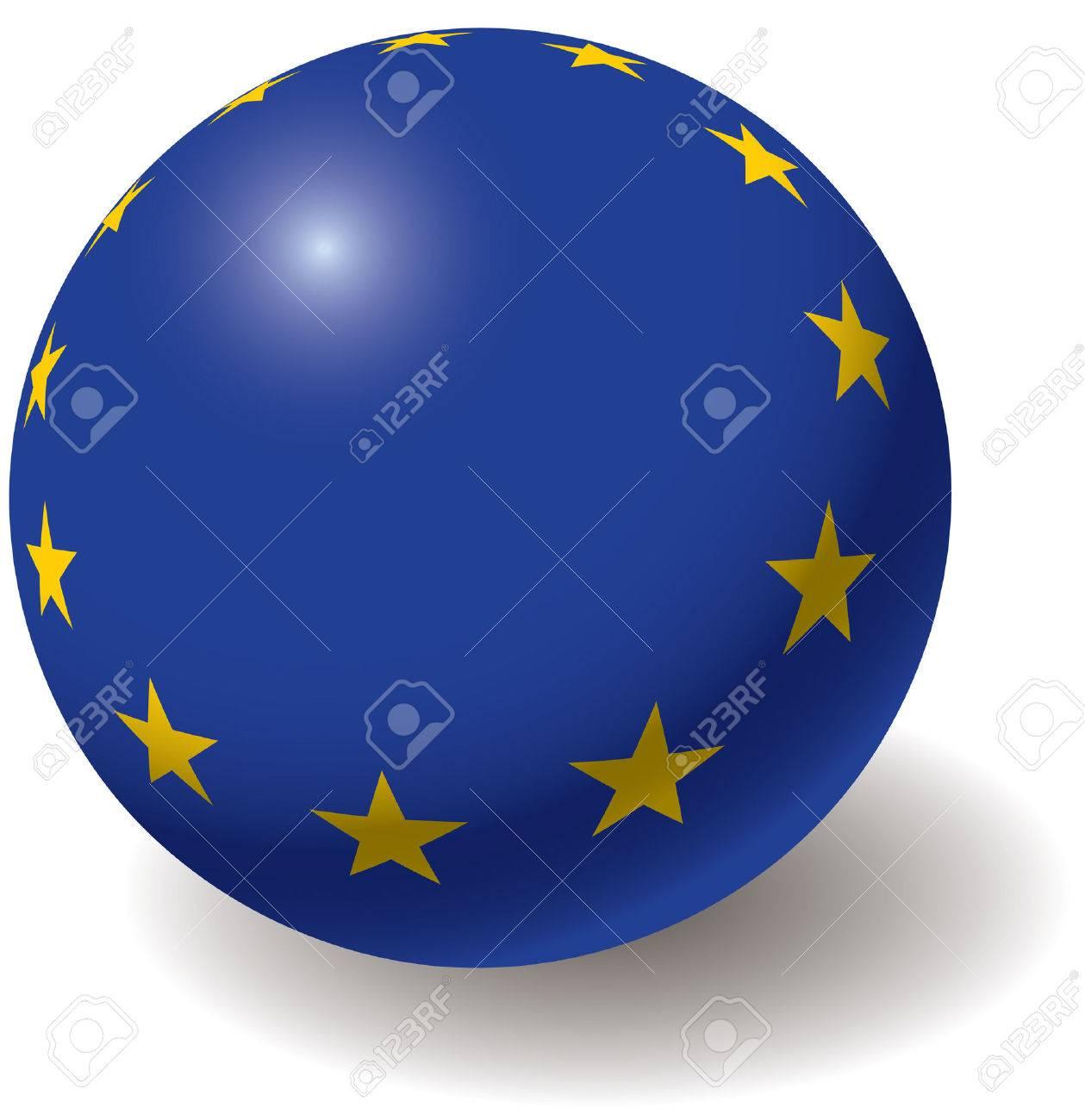 European union flag texture on ball. Design element. Isolated on white. Vector illustration. Stock Vector - 4432381