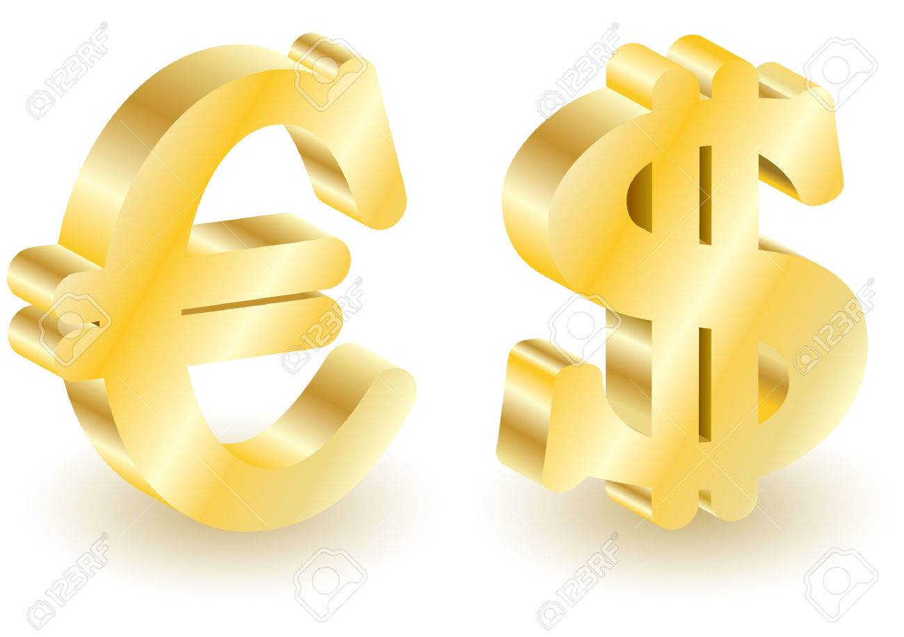 Dollar and euro money 3d symbols. Vector illustration. Set elements for you design. Isolated on white. Stock Vector - 4809714