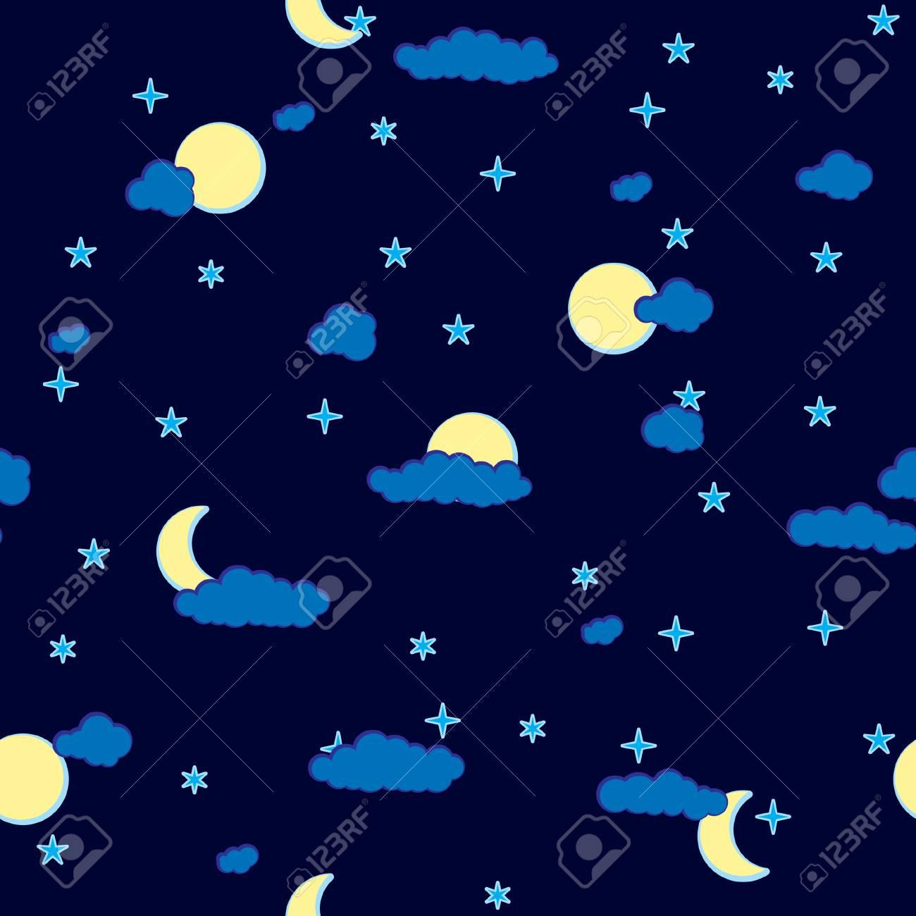 Résumé De Base Des Nuages La Nuit Seamless Palette De Couleur Bleu