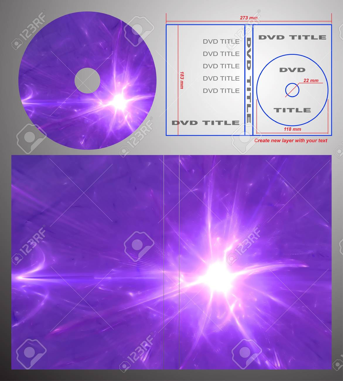 Abstract design template for dvd label and box-cover. Based on rendering of 3d fractal graphics. For using create new layer with your text. Stock Photo - 5561732