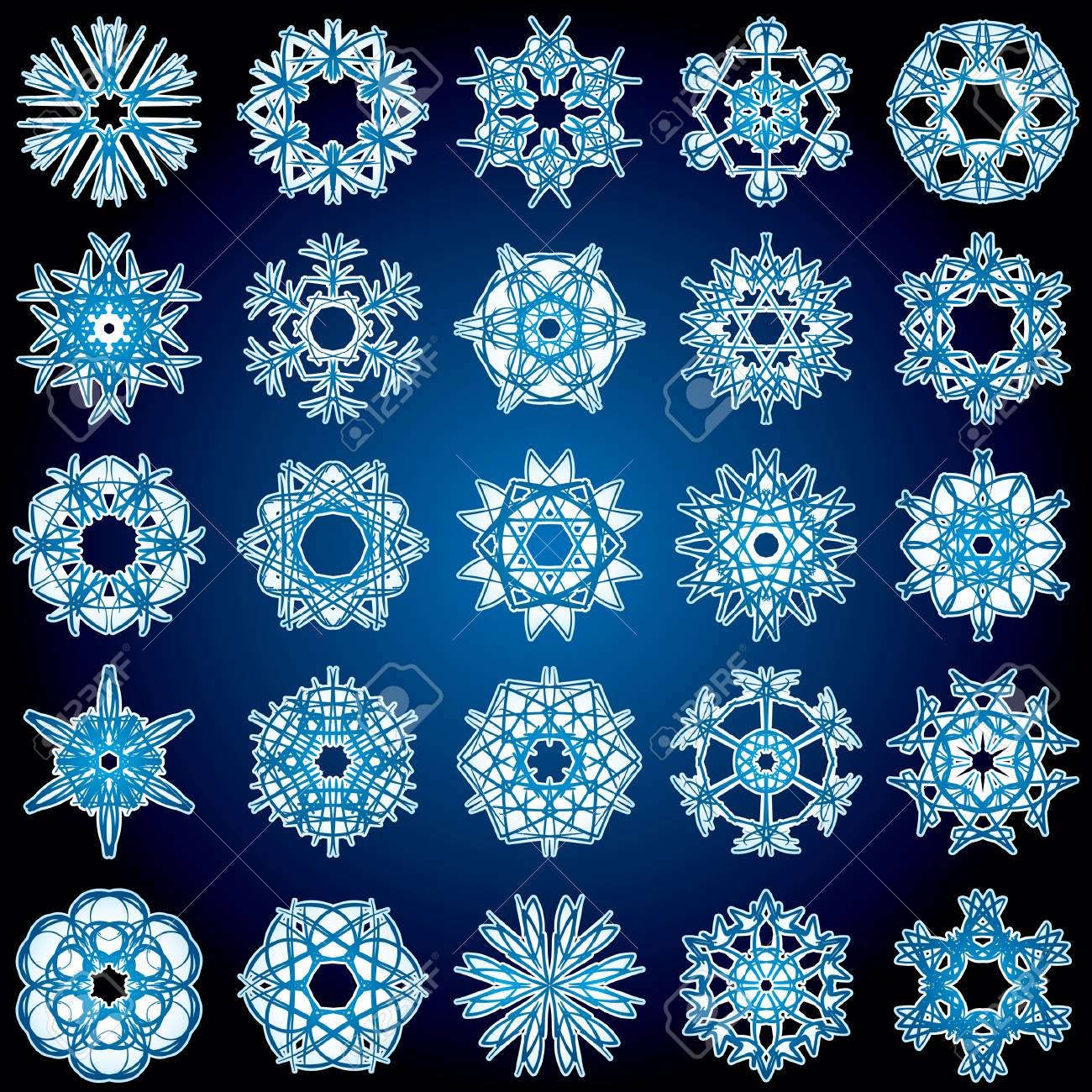 Set of 25 a six-rays crystal gradient snowflakes. Vector illustration on dark blue background. Stock Vector - 5770811