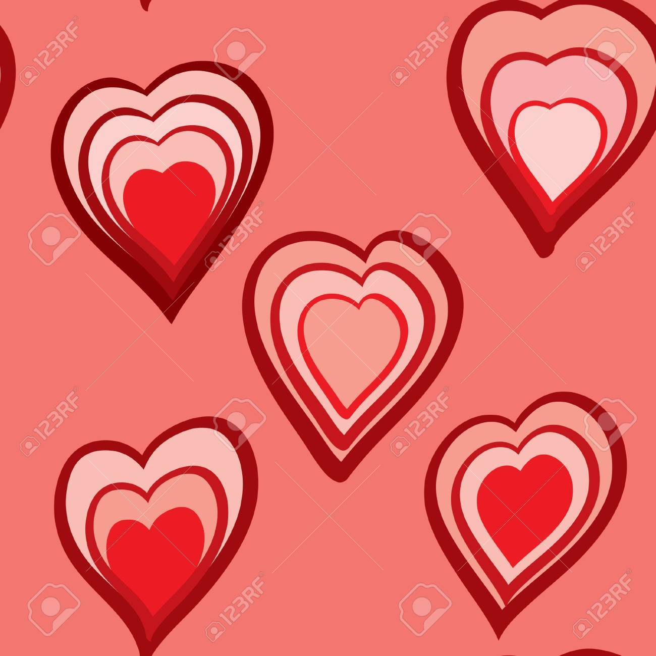 Valentine's day abstract seamless background with red hearts.  illustration. Stock Vector - 6270632