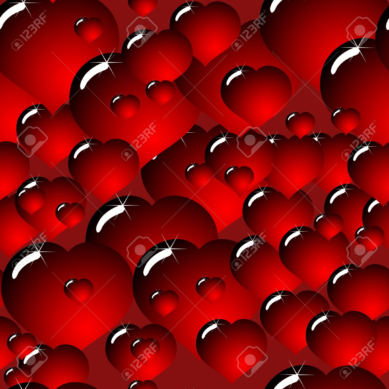 Valentine's day abstract background with glass dark-red hearts. Seamless pattern. Vector illustration. Stock Vector - 8485915