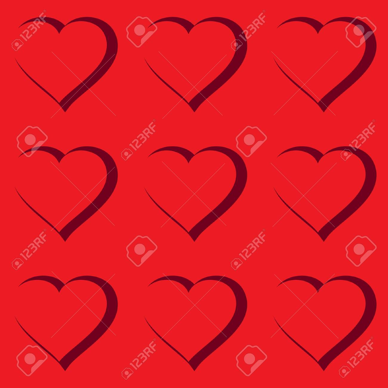 Valentine's day abstract red background with hearts. Seamless pattern. Vector illustration. Stock Vector - 8485917