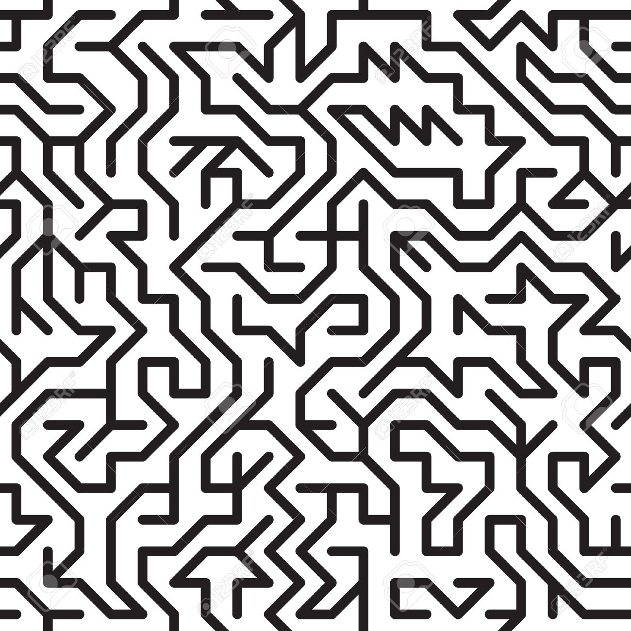 Black And White Abstract Background With Complex Maze Seamless