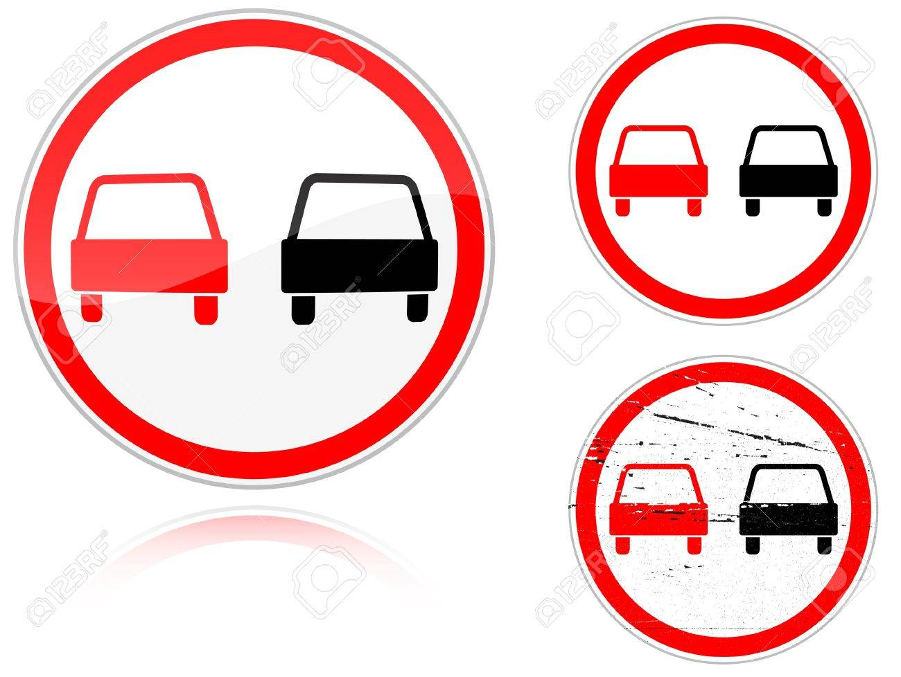 Set of variants a No passing - road sign isolated on white background. Group of as fish-eye, simple and grunge icons for your design. Vector illustration. Stock Vector - 8795771