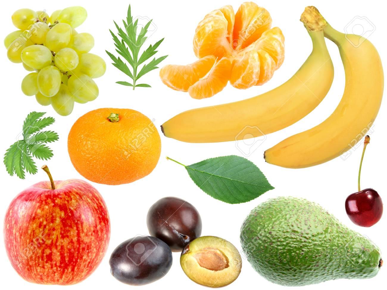 Set of fresh fruits and berryes. Isolated on white background. Close-up. Studio photography. Stock Photo - 12376438
