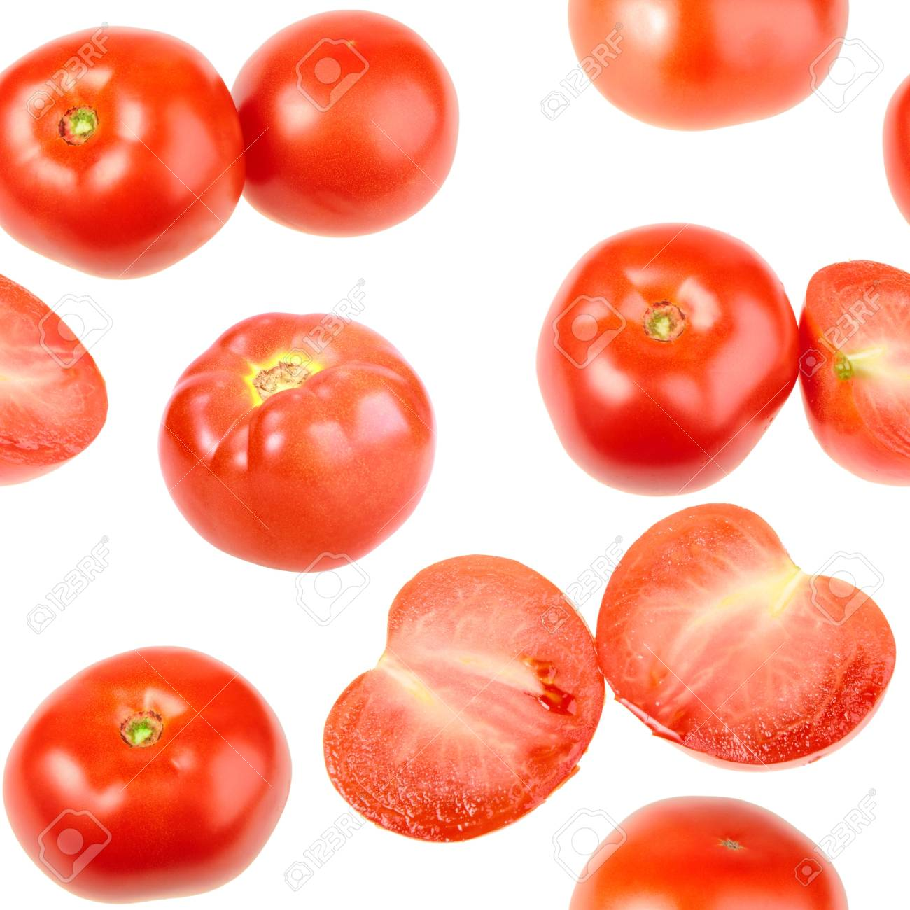 Abstract background with red fresh tomatos. Isolated on white. Seamless pattern for your design. Close-up. Studio photography. Stock Photo - 13659088