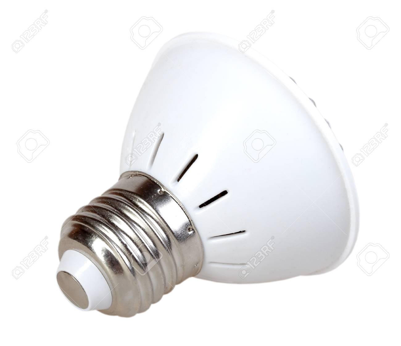 Cone energy-saving LED lamp isolated on white background. Back view. Studio photography. Stock Photo - 18626204