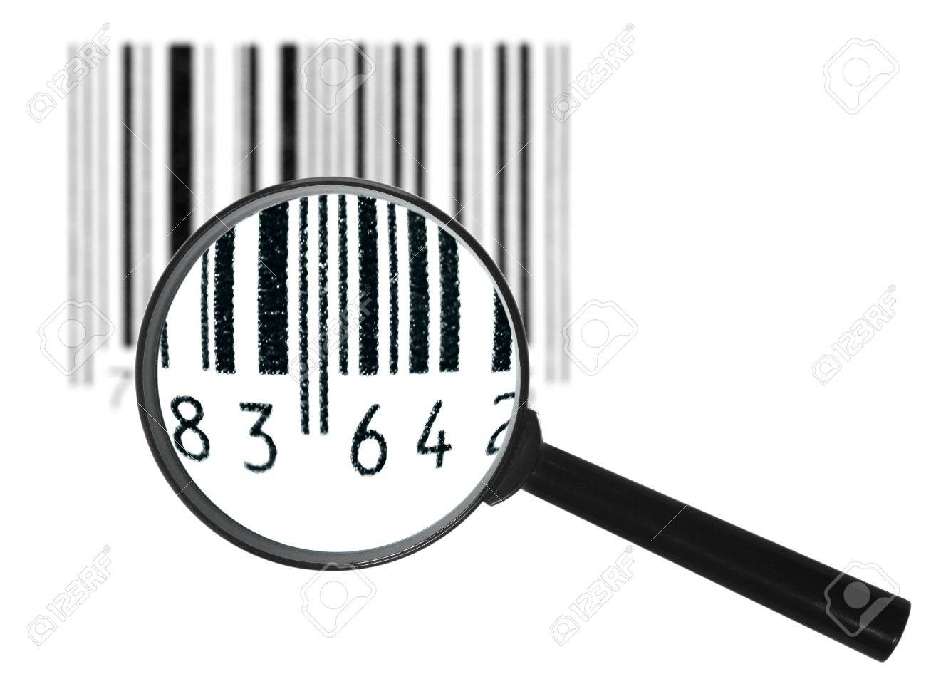 Preview of-focus black grunge bar-code symbol through magnifier lens. Art design. Isolated on white background. Stock Photo - 18754301